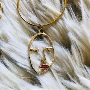 Wink & Kiss Flirty Face Pendant Gold Hoop Earrings